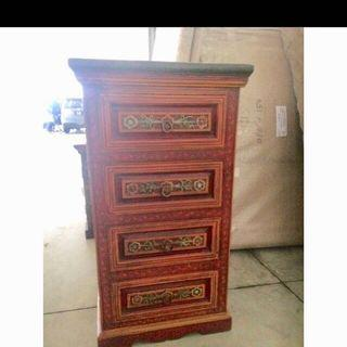 Teak Wood Chest of drawers ( handpainted & handcarved)