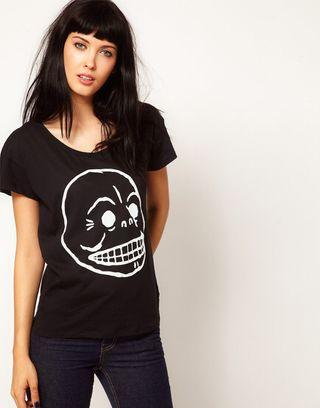 WTS CHEAP MONDAY BLACK SKULL T SHIRT