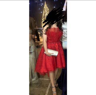 DRESS MERAH RED GOWN PROMNIGHT PARTY DRESS