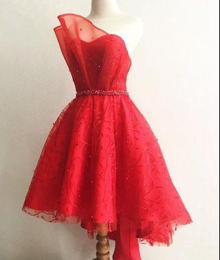 DRESS MERAH RED GOWN PARTY PROMNIGHT DRESS