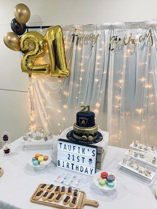 21st birthday Dessert table birthday decoration backdrop set up