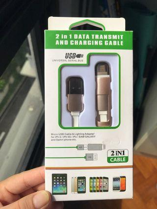 🚚 BNIB 2 in 1 Charging Cable (iPhone, Android)