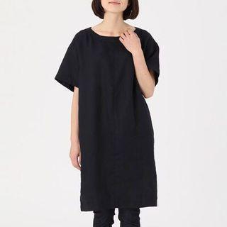 Muji French Linen very dark Navy dress