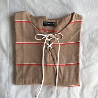 oversized khaki lace up tee