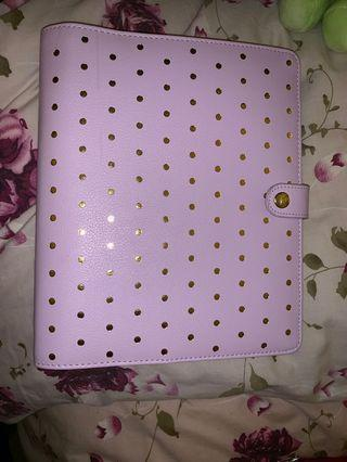 Lilac and gold large kikki k planner with dividers