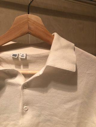 White Cropped polo-style shirt