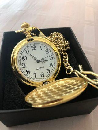 🚚 Gold Plated Pocket Watch Quartz with Chain