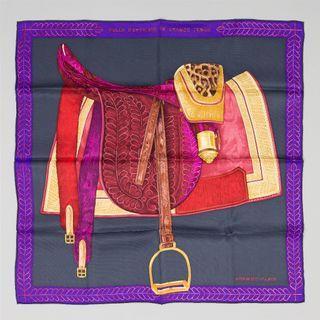 Splendid carré Hermes - Rare 100% Silk Scarf - Selle d'officier en grande tenue