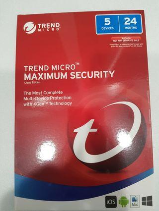 TrendMicro Maximum Security Cloud Edition ( 5 Devices 24 month)