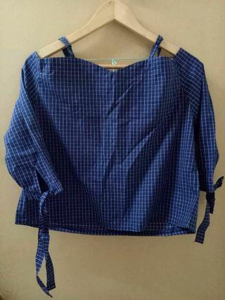 Loose Gingham Blue Blouse Tops