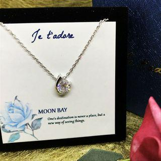 Silver 925 necklace with moon bay charm