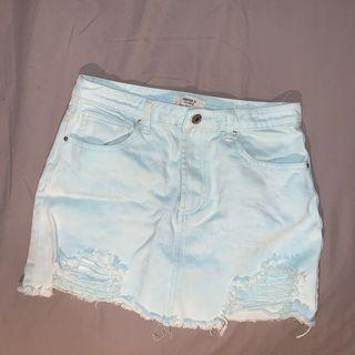 Baby blue denim skirt