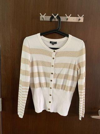 Premise studio White & Gold stripe sweater