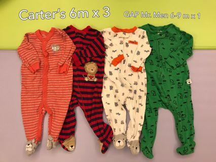 Carters, GAP onesies set 6 & 6-9m