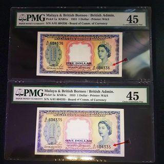 1953 Malaya &British Borneo Queen Elizabeth ll $1 Banknote 2running number A/61 36,35