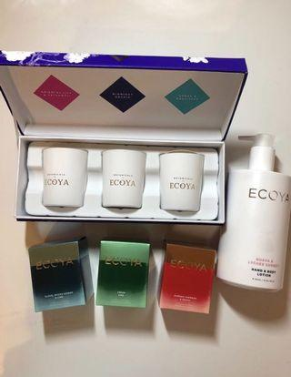 Ecoya Gift Set Bundle (Mini Botanic Candles Set, 3x Candles, Hand & Body Lotion)