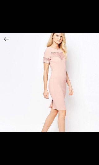 BNWT ASOS pink lace bodycon dress