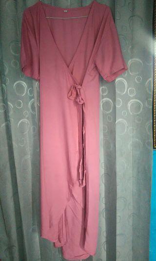 Mididress kimono pink jambu