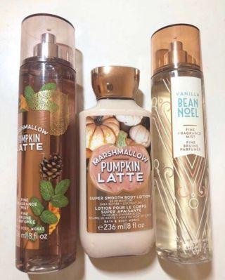BBW Marshmallow Pumpkin Latte Set + Vanilla Bean Noel Fragrance FULL SIZED