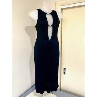 'WAYNE COOPER' MYER Sexy Tight Midi Bodycon Keyhole Front Cocktail Black Dress