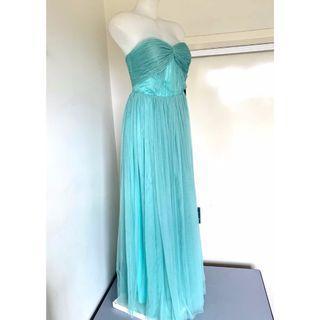 👗'BEAUTIFLY' Strapless Turquoise Mint Ruffle Formal Column Floor Length Dress👗
