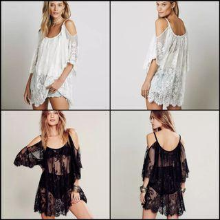 Off shoulder floral lace crochet loose dress outer bikini cover