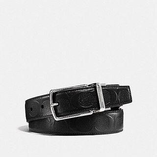 BN 💯 Authentic Coach Mens Belt in Black Signature Crossgrain leather