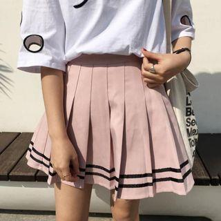 Cute Pink Skirt with Black Stripe