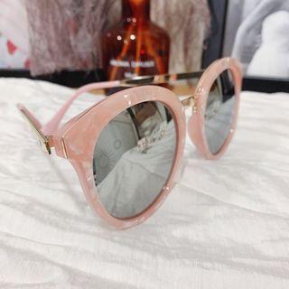 大理石紋反光墨鏡粉紅色