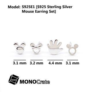 S925 Sterling Silver Micky Mouse Earring Set of 4 Ear Studs for baby girl shower (Mickey mouse, Minnie mouse earing, Disney)