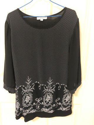 🚚 Black chiffon blouse with swiss dots