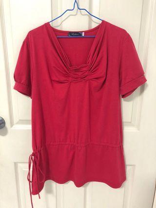 Red drop waist tunic blouse