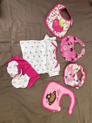 Brand New Baby girl clothes and bibs