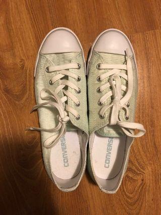 Mint green converse shoes
