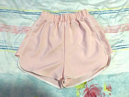 Pink elastic high waist shorts