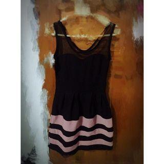 紗網背心橫條紋洋裝 黑粉紫色 全新出清