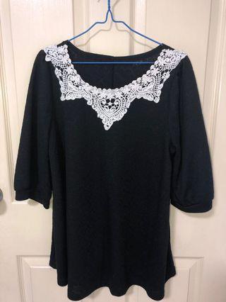 Black blouse with lace neckline