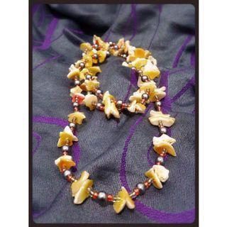 黃金貝殼串珠毛衣鍊