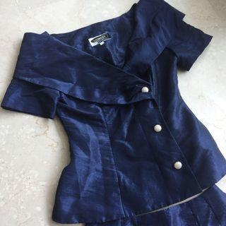 Blue formal wear set blouse TOP with skirt