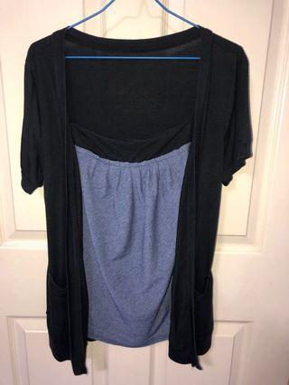 Black blouse with faux short sleeve cardigan