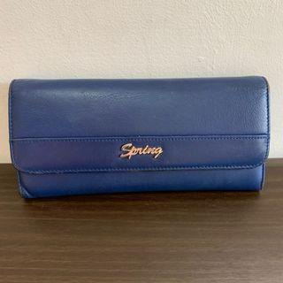 Spring 專櫃藍色三折長夾