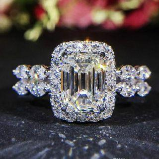 Emerald Cut Halo Moissanite Diamond Ring