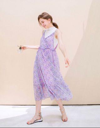 Lovfee全新紫色碎花洋裝