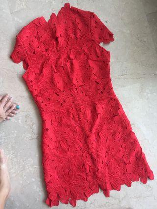 Red floral Lace overlay Dress