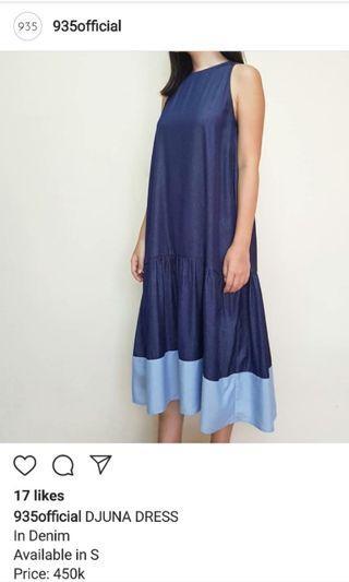 [935 Official] Denim Dress Ruffle