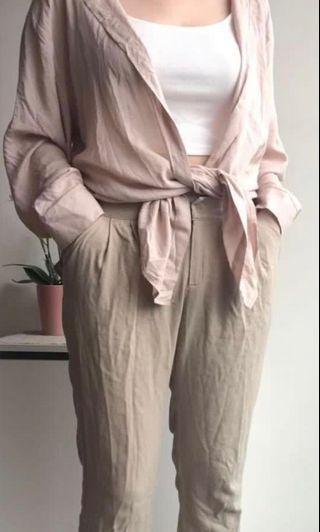 酒紅平口+棉麻褲