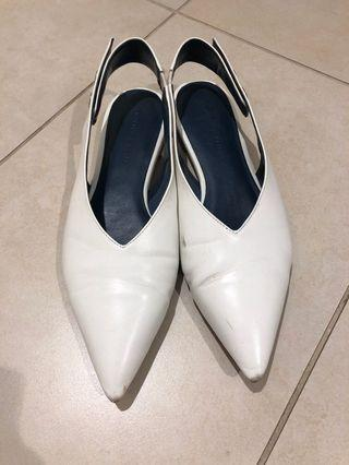 Charles and Keith White Pointed Shoes