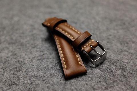 Italian Chestnut Padded Leather Watch Strap
