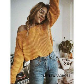 INSTOCK: OFF SHOULDER OVERSIZED YELLOW MUSTARD KNITTED LONG SLEEVE TOP PULLOVER