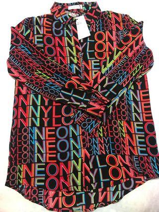 BNWT neon and nylon button up